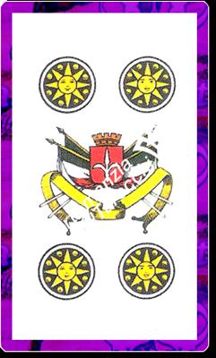 4 di Denari del mazzo delle carte napoletane