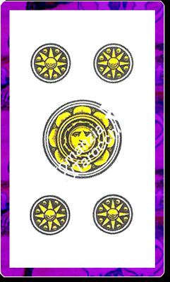 5 di Denari del mazzo delle carte napoletane