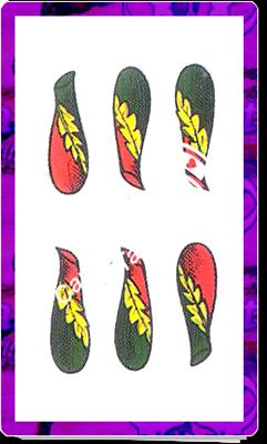 6 Bastoni del mazzo delle carte napoletane